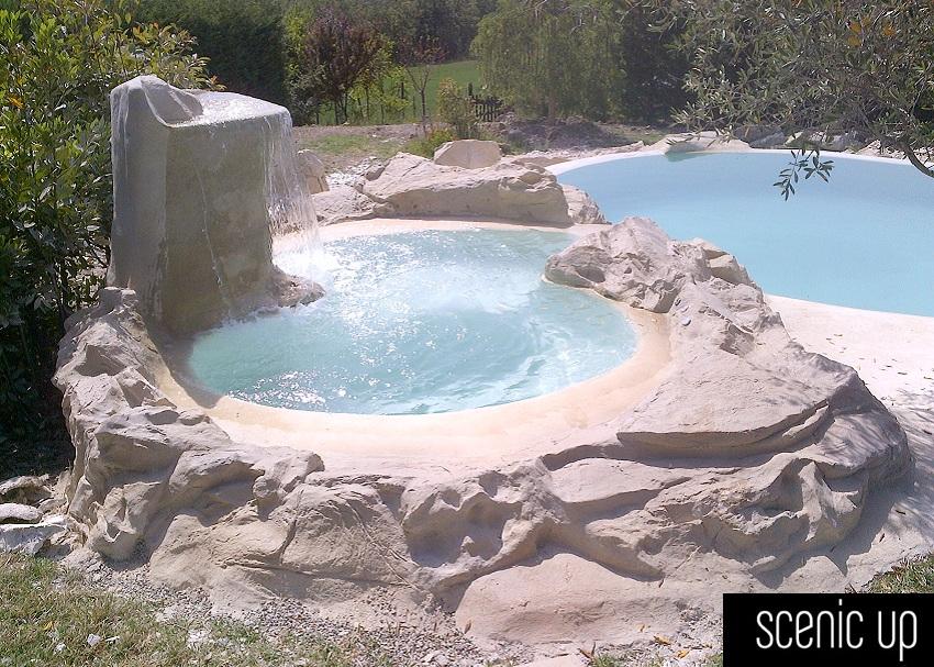 Piscina con idromassaggio da esterno boiserie in - Vasca da bagno piscina ...